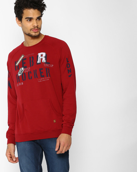 Crew-Neck Sweatshirt With Raglan Sleeves By DNMX ( Red )