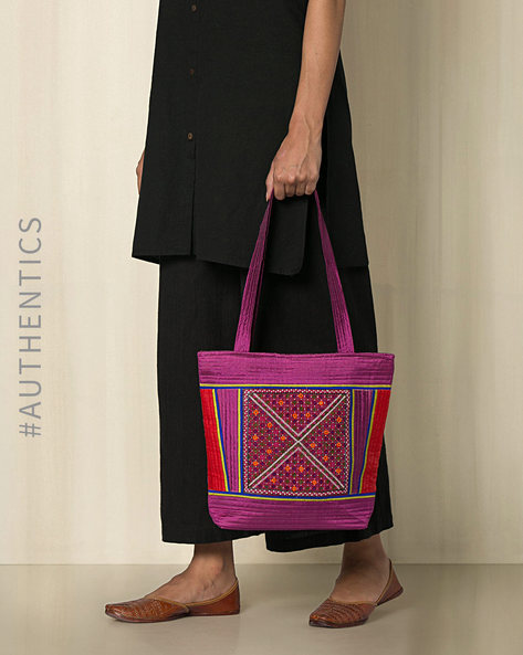 Kutch Jat Garasiya Hand Embroidery Handbag By Indie Picks ( Purple ) - 460034797001