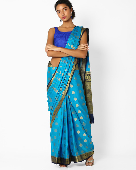 Jacquard Saree With Zari Work By Amori ( Blue )