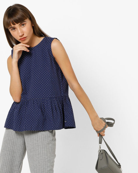 Polka-Dot Print Peplum Top With Tie-Up Back By Lee ( Navyblue )