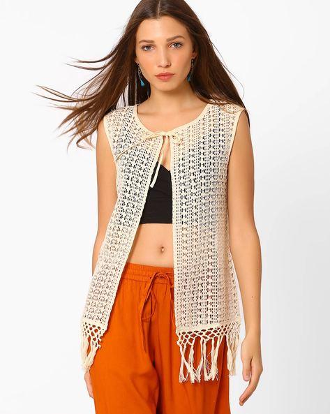 Crochet Shrug With Tie-Up By AJIO ( Beige )