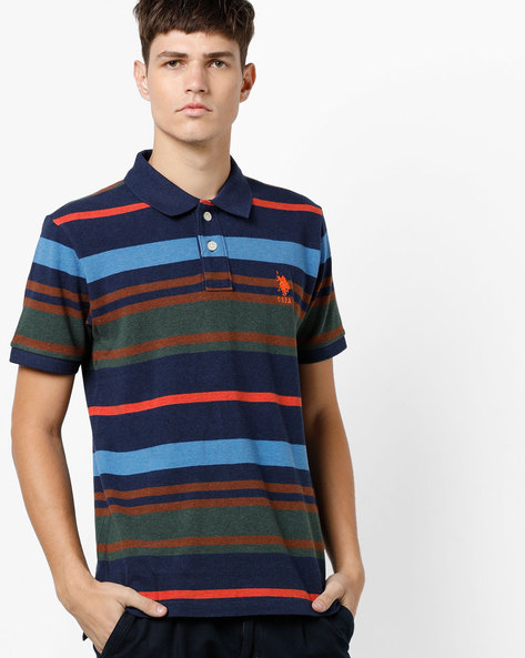 Striped Polo T-shirt With Ribbed Sleeve Hems By US POLO ( Blue )