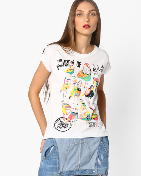 Bird Print T-shirt With Extended Sleeves By AJIO ( White )