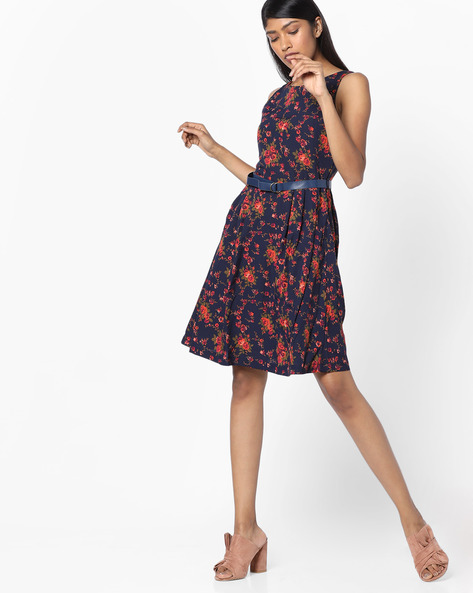 Floral Print Fit & Flare Dress With Belt By Tokyo Talkies ( Darkblue )