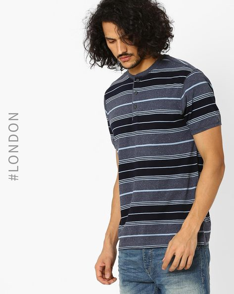 Striped Henley T-Shirt With Stay New By Marks & Spencer ( Blue )