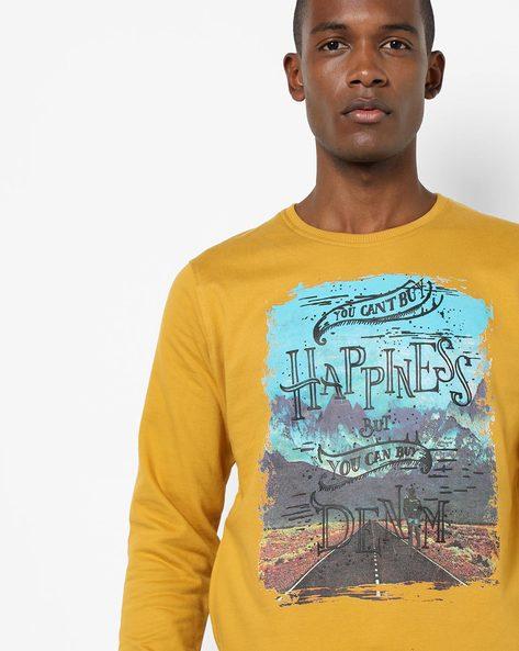Graphic Print Cotton Sweatshirt By Killer ( Mustard )