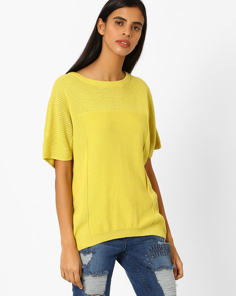 Ribbed Cotton Pullover By AJIO ( Limegreen )