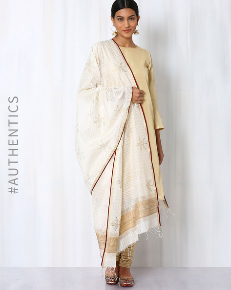 Hand Block Print Maheshwari Dupatta By Indie Picks ( White ) - 460017089001