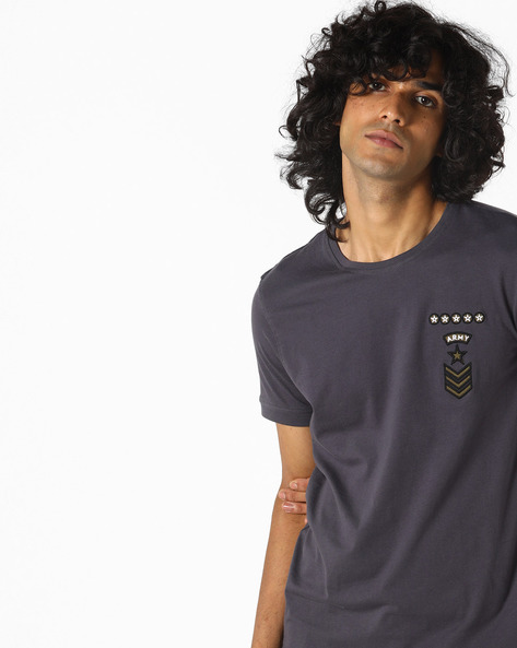 Crew-Neck T-shirt With Embroidered Badge By AJIO ( Charcoal )