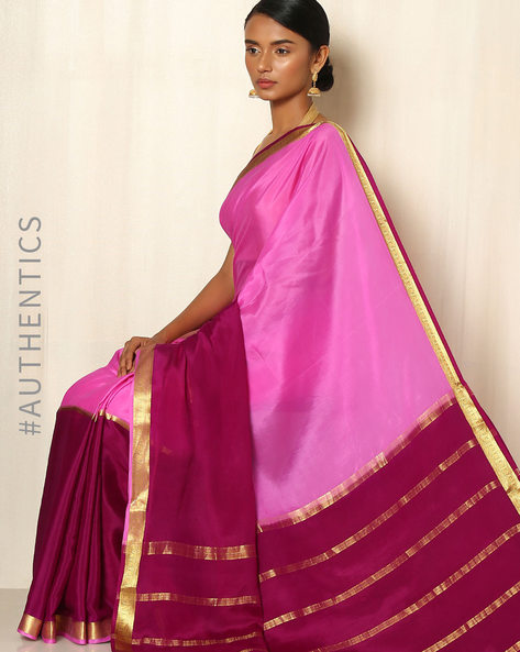 Pure Mysore Silk Crepe Saree By Indie Picks ( Purple )