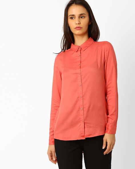 Cotton High-Low Shirt By WRANGLER ( Coral )