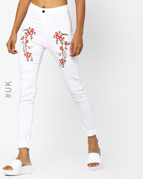 Ankle-Length Jeggings With Embroidery By INFLUENCE ( White )