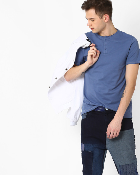 Henley T-shirt With Raw Edges By AJIO ( Blue )