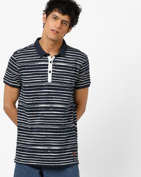 Striped Slim Fit Polo T-shirt By SPYKAR ( Navy )