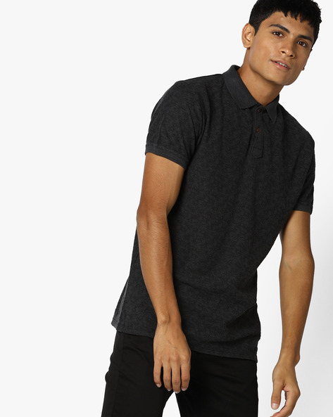 Tropical Print Polo T-shirt By BASICS ( Darkgrey )