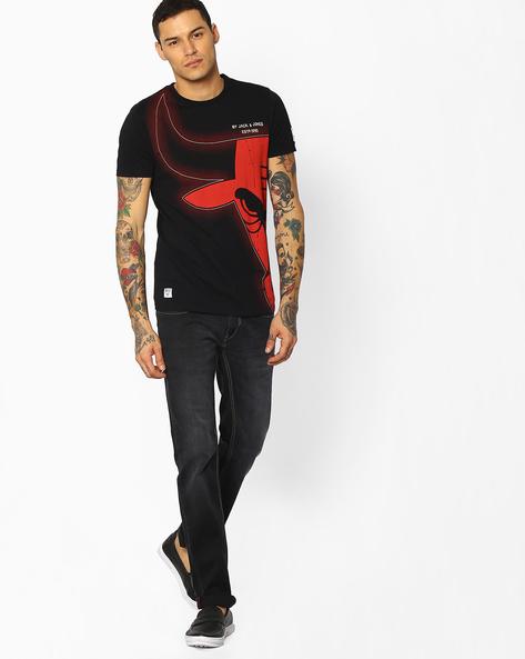 Chicago Bulls Print T-shirt By Jack & Jones ( Black )