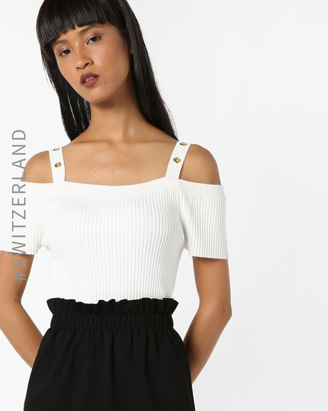 Strappy Cold-Shoulder Top By TALLY WEiJL ( White )