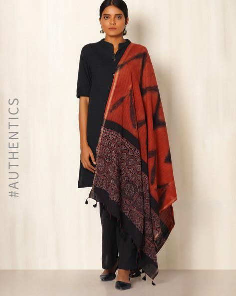 Ajrak Handblock Print Shibori Cotton Dupatta By Indie Picks ( Indigo ) - 460045108001