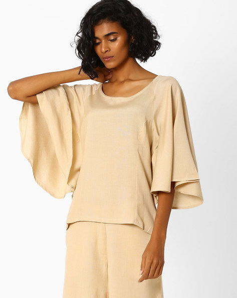 Top With Flared Raglan Sleeves By AJIO ( Beige )