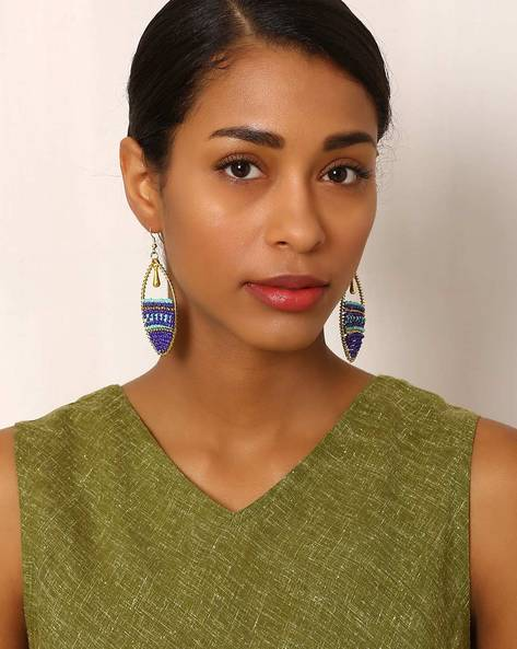 Beaded Brass Drop-Earrings By Indie Picks ( Multi ) - 460042591001
