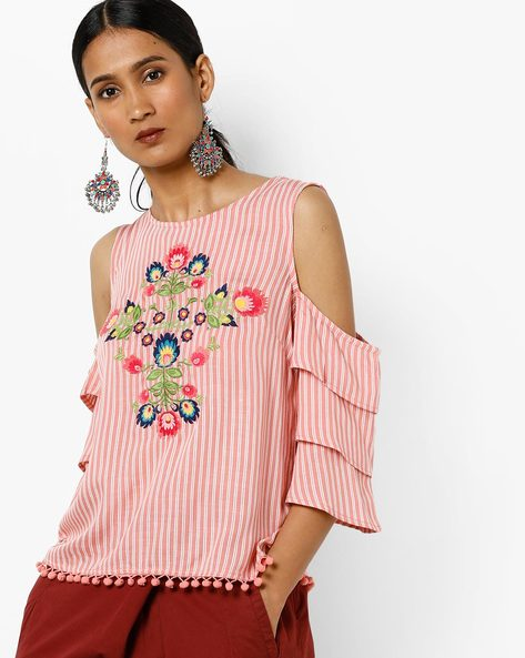 Striped Cold-Shoulder Top With Tiered Sleeves By AJIO ( Pink )