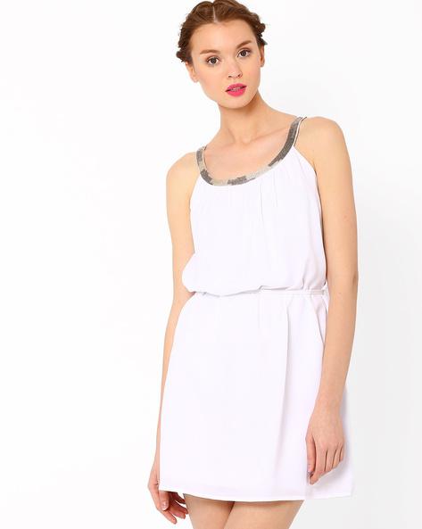 Dress With Embellished Neckline By AJIO ( White )