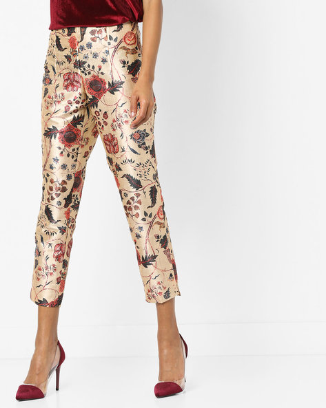 Floral Print Ankle-Length Pants By Melange By Lifestyle ( Offwhite )