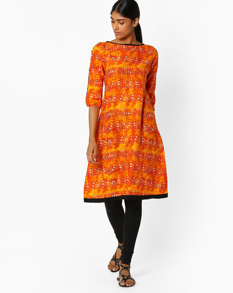 Printed Kurta With Boat Neck By Libas ( Orange )