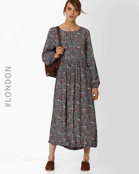 Long Sleeve Printed Maxi Dress By Closet London ( Multi )
