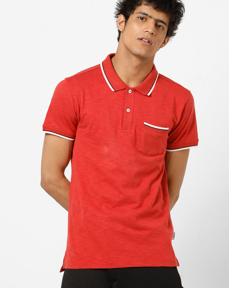 Slim Fit Polo T-shirt With Patch Pocket By Jack & Jones ( Scarlet )