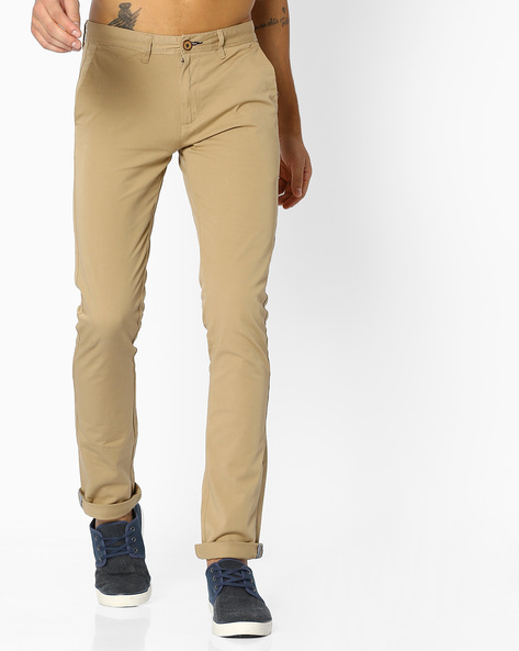 Flat-Front Stretch Chinos By NETPLAY ( Beige )