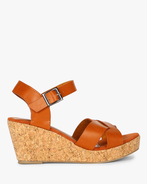 Criss-Cross Strap Wedges By MFT Couture ( Tan )
