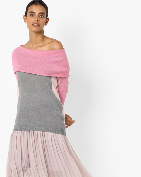 Colourblock Top With Off-Shoulder Styling By Fame Forever By Lifestyle ( Pink )