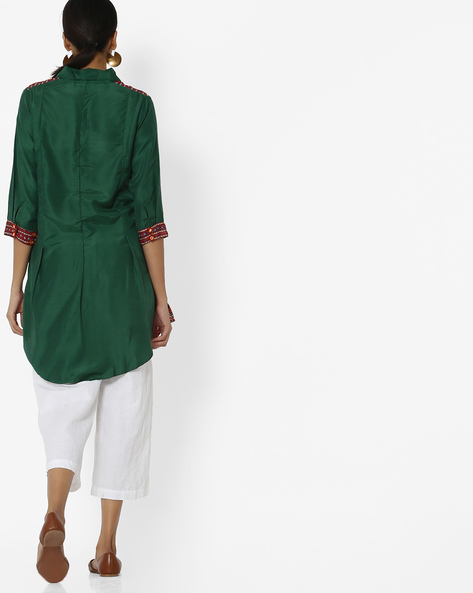 Printed Tunic With High-Low Hem By Akkriti By Pantaloons ( Green )