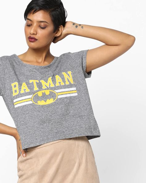 Batman Print Crew-Neck T-Shirt By Free Authority ( Grey )