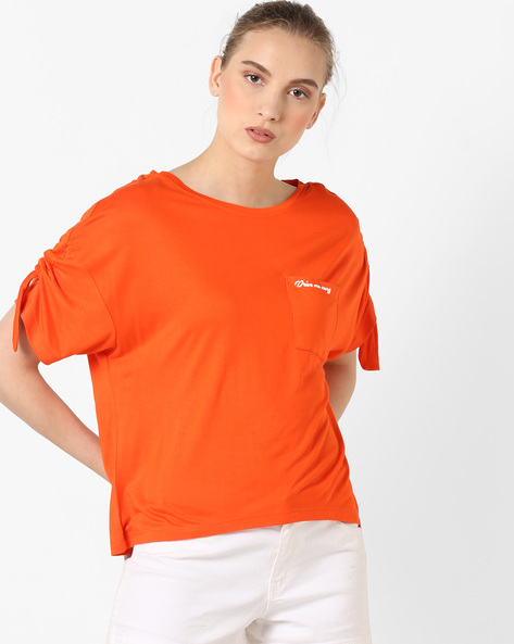 Drop-Shoulder T-shirt With Patch Pocket By AJIO ( Orange )