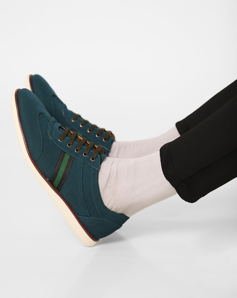 Heathered Sneakers With Lace-Ups By AJIO ( Green )