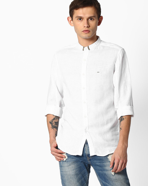 Slim Fit Shirt With Band Collar By SPYKAR ( White )
