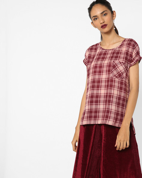 Checked Top With Curved Hem By Fame Forever By Lifestyle ( Wine )