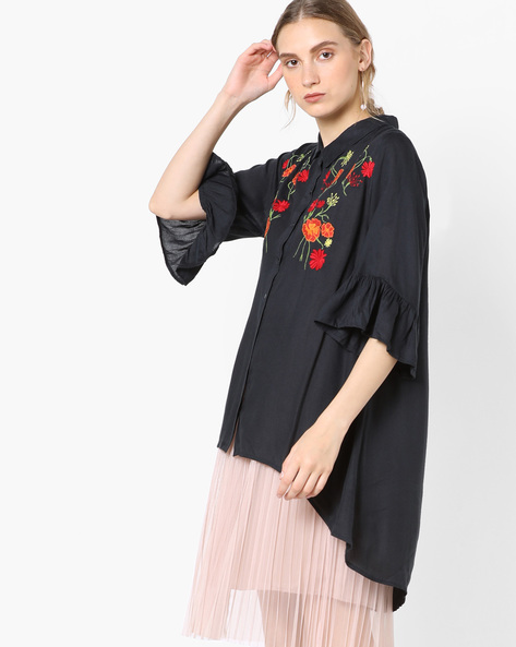 Embroidered Shirt With High-Low Hem By Rena Love ( Navyblue )