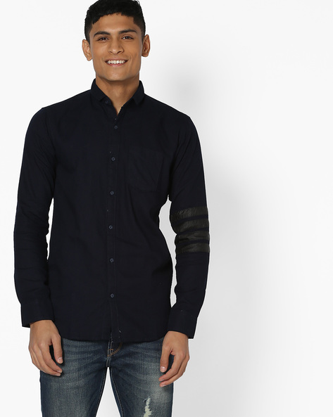 Classic Shirt With Contrast Tapings By Campus Sutra ( Blue )