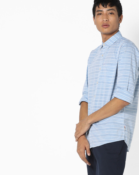 Striped Fil-A-Fil Cotton Shirt By WRANGLER ( Blue )