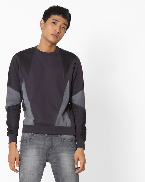 Colourblock Crew-Neck Pullover By Blue Saint ( Charcoal )
