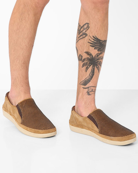 Genuine Leather Textured Slip-Ons By WOODLAND ( Camel )