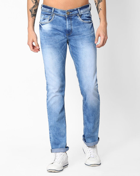 Straight Fit Mid-Washed Jeans By MUFTI ( Lightblue )