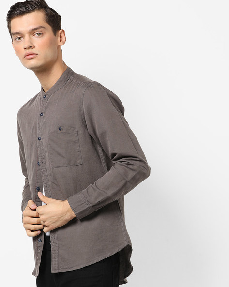 Regular Fit Shirt With Band Collar By AJIO ( Slate )