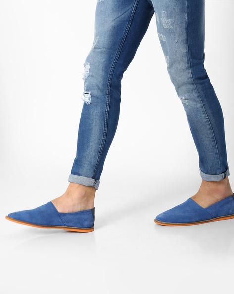 Genuine Leather Slip-Ons By AJIO ( Blue )