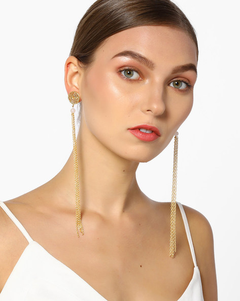 Tassel Earrings With Quartz Bead By Tvayaa Art ( Lightpink )