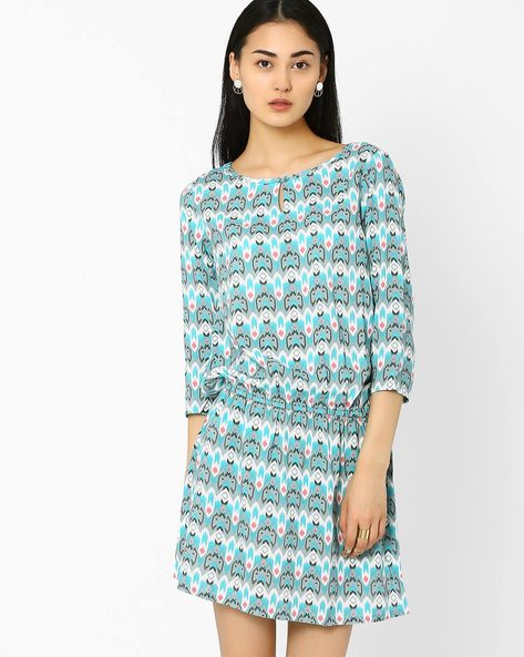Printed Drop-Waist Dress By AJIO ( Blue )