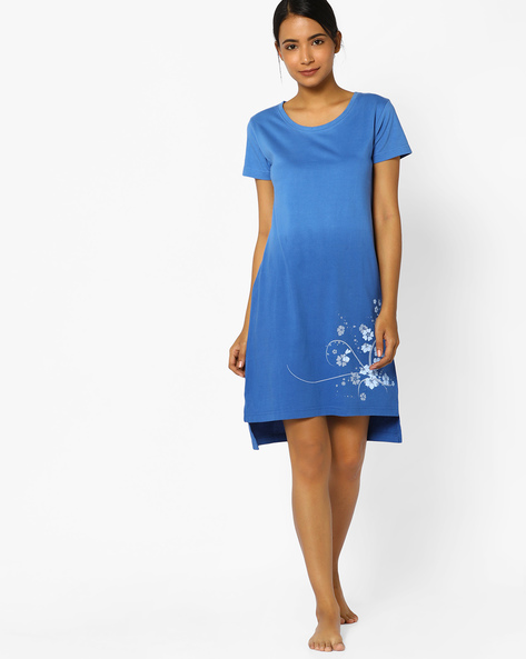 Ombre-Dyed Nightdress With Placement Print By Slumber Jill ( Blue )